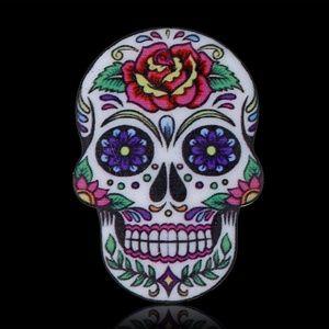 Jewelry - Sugar Skull Pin Acrylic Colorful